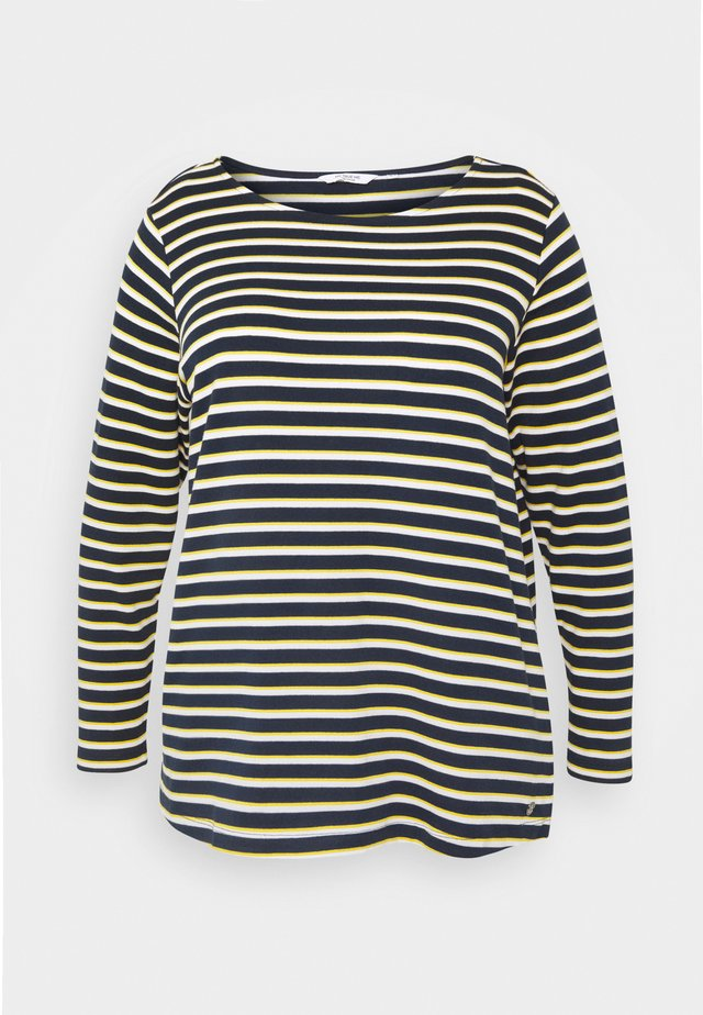 T-shirt à manches longues - navy yellow white stripe