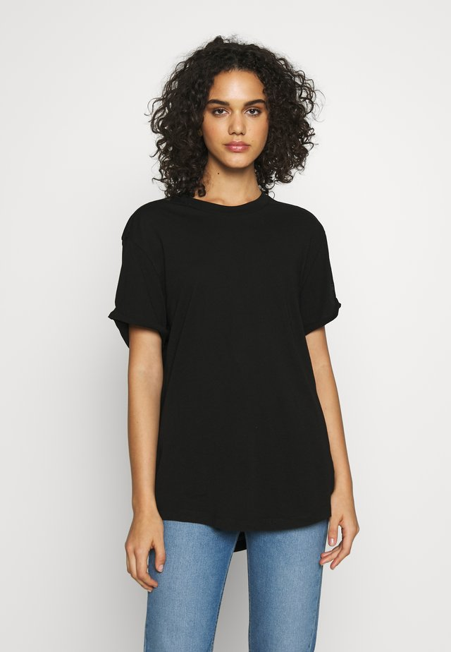 LASH FEM LOOSE ROUND SHORT SLEEVE - Basic T-shirt - black