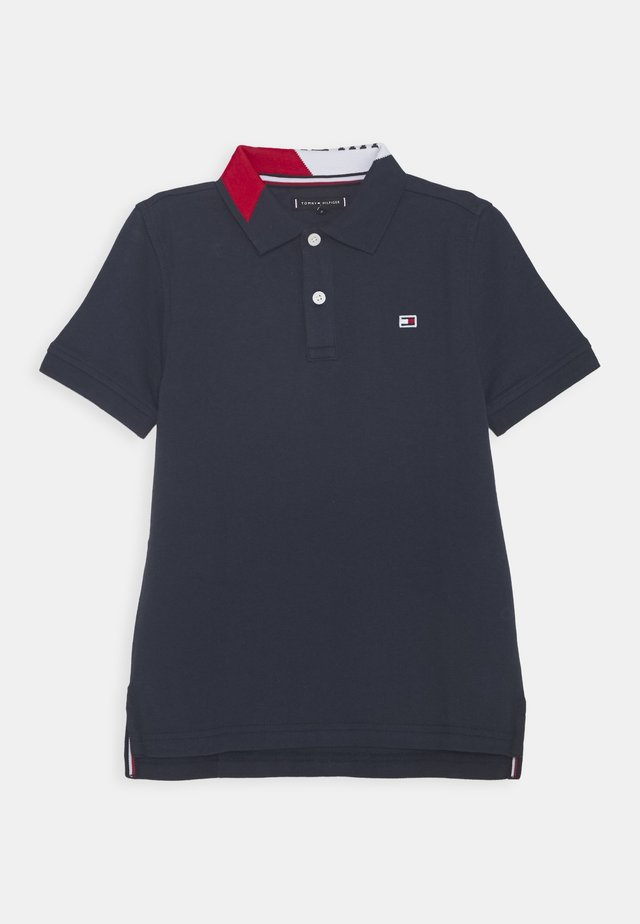 INTARSIA COLLAR - Poloshirt - blue