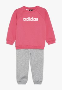 adidas Performance - ESSENTIALS LINEAR TRACKSUIT BABY SET - Træningssæt - pink/mottled grey/white - 0