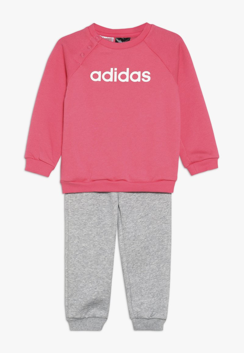adidas Performance - ESSENTIALS LINEAR TRACKSUIT BABY SET - Træningssæt - pink/mottled grey/white