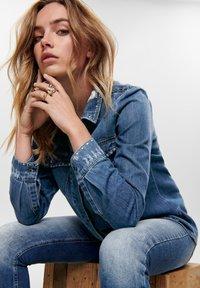 ONLY - Button-down blouse - dark blue denim - 3