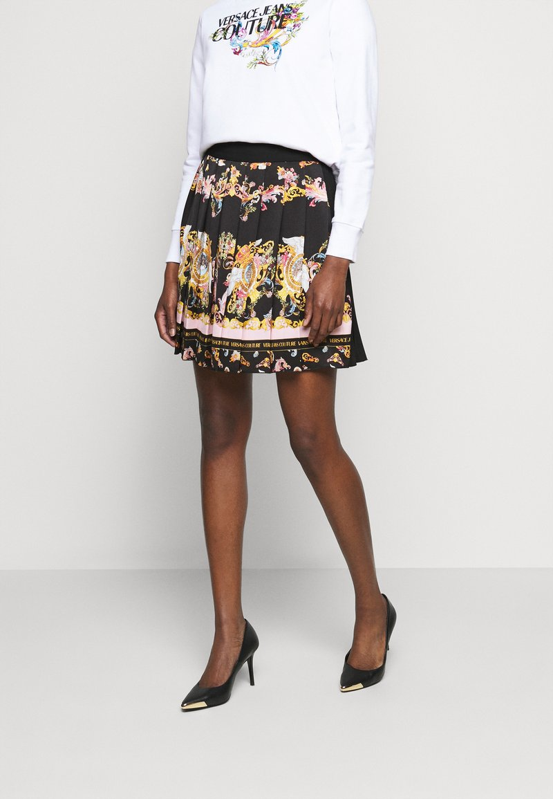 Versace Jeans Couture - LADY SKIRT - Pleated skirt - black/pink confetti