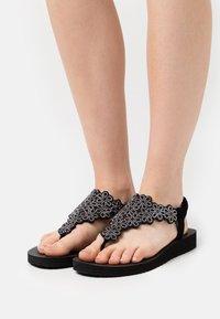 Skechers - MEDITATION - T-bar sandals - black/silver - 0