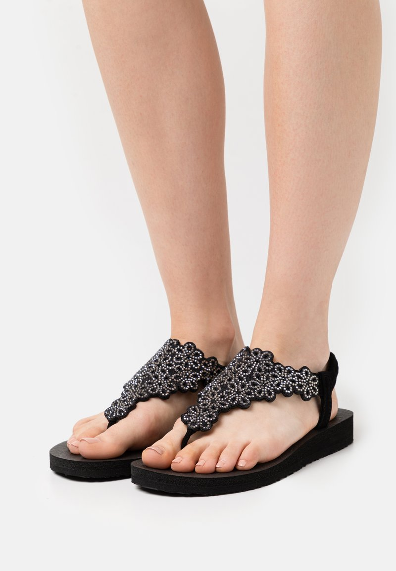 Skechers - MEDITATION - T-bar sandals - black/silver