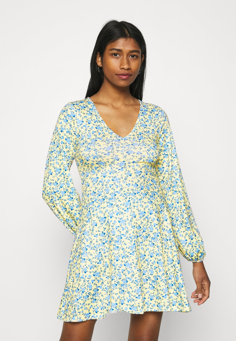 Missguided - DITSY SKATER DRESS - Jersey dress - yellow