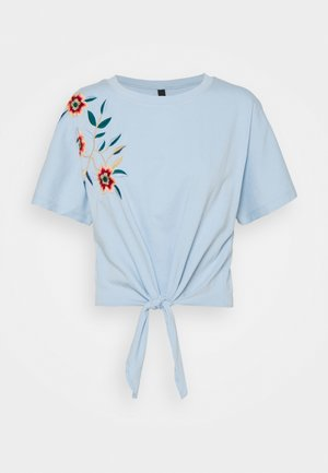 YASFABIAN KNOT TEE - T-shirt print - cashmere blue