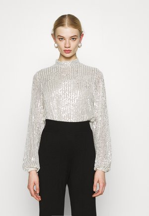 HIGH NECK SEQUIN BLOUSE - T-shirt à manches longues - grey