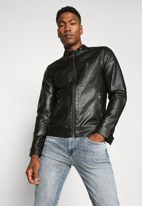 Jack & Jones PREMIUM - JPRBLUMAX JACKET - Faux leather jacket - black - 3