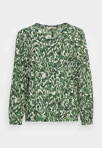 Marc O'Polo - BLOUSE LONG SLEEVE SLIT IN - Blouse - green/white - 3
