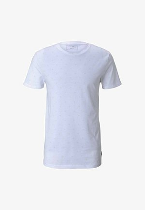Print T-shirt - white mini palm leaf print