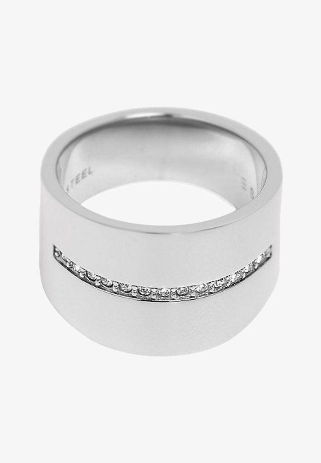 MIT ZIRKONIA-REIHE, EDELSTAHL - Ring - silver-coloured