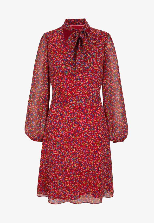 Day dress - hellrot, englische blüten
