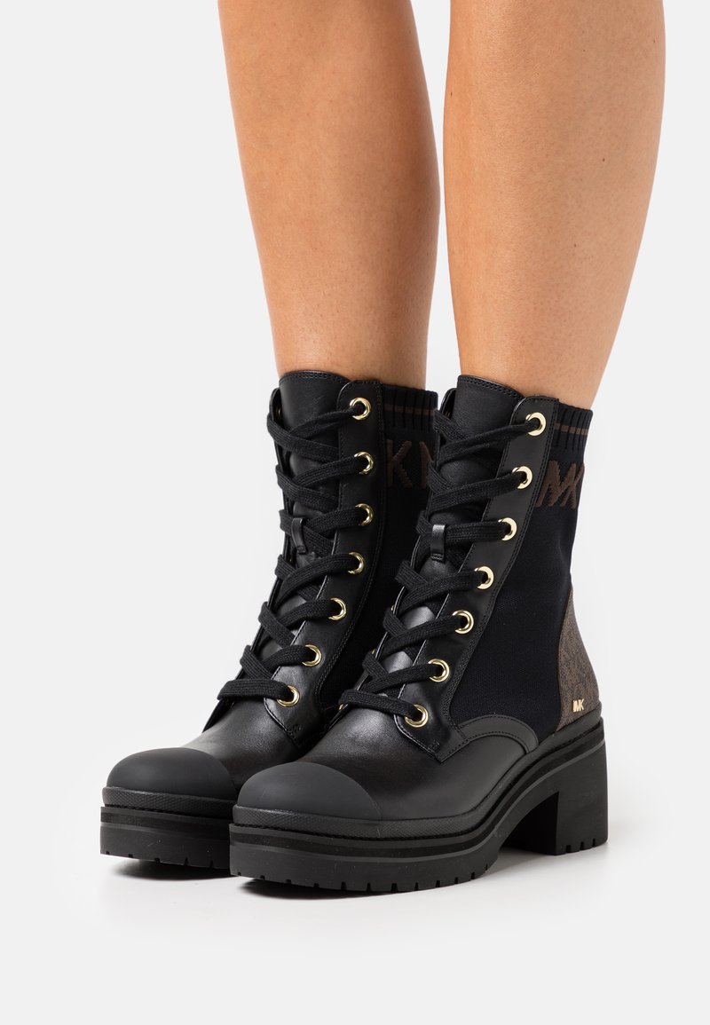 MICHAEL Michael Kors - BREA BOOTIE - Lace-up ankle boots - black/brown
