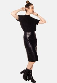 LEATHER HYPE - AMARI  - Pencil skirt - black - 5