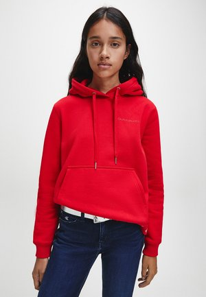 LOGO TRIM HOODIE - Hoodie - red hot