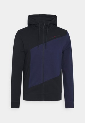 BLOCKED HOODY - Felpa aperta - blue