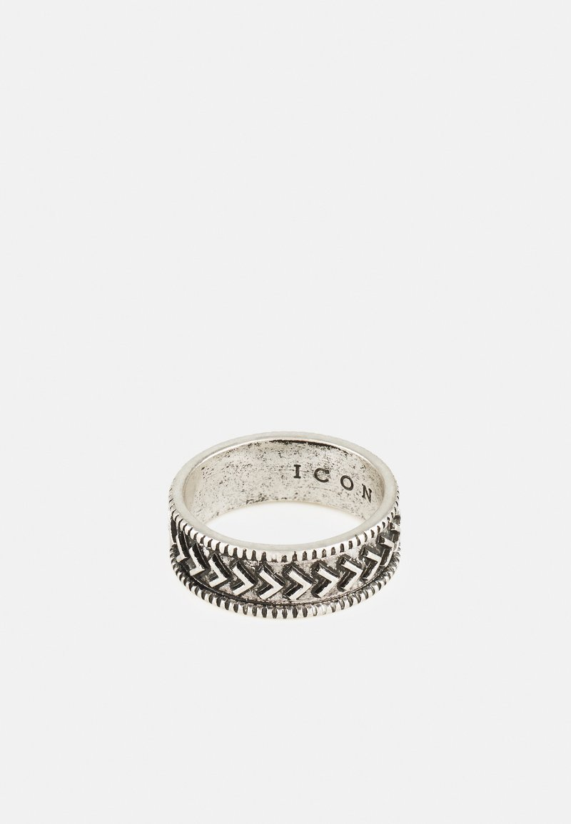 Icon Brand - BRUTALIST PATTERN ROUND - Bague - silver-coloured