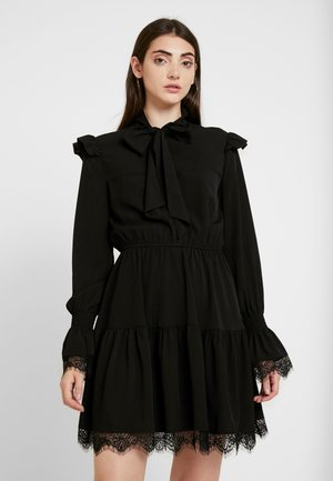 SMOCKED FLOUNCE DETAIL DRESS - Day dress - black