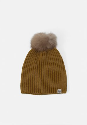 WARMY FOLD UP POMPOM UNISEX - Bonnet - mustard/grey