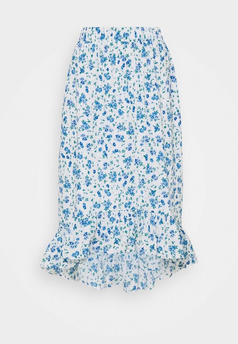 Pieces Petite - PCPIPA MIDI SKIRT - A-line skirt - bright white/blue
