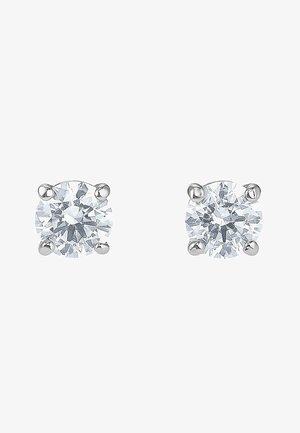 ATTRACT STUD PIERCED EARRINGS, WHITE, RHODIUM PLATED - Earrings - silber