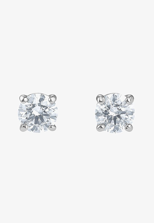 ATTRACT STUD PIERCED EARRINGS, WHITE, RHODIUM PLATED - Ohrringe - silber