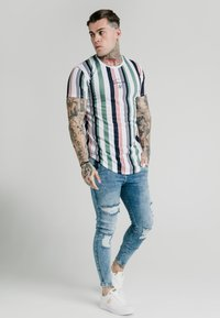 SIKSILK - STRIPE TEE - Print T-shirt - white/navy/green - 1