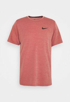 HYPER DRY - Print T-shirt - rust pink heather/black
