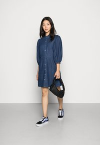 Vila - VITOMA DAIZY SLEEVE DRESS - Shirt dress - dark blue denim - 1