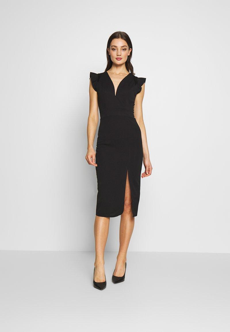 WAL G. - FRILL SLEEVE V PLUNGE NECK DRESS - Sukienka koktajlowa - black