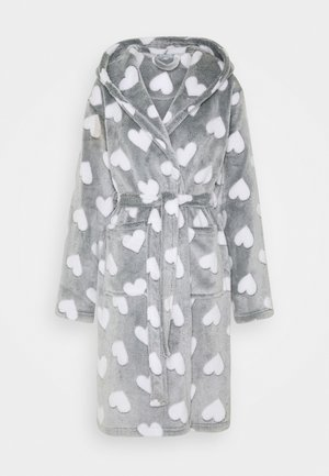 HEART LUXURY HOODED ROBE - Badjas - grey