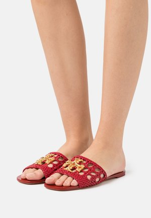 ELEANOR WOVEN FLAT SLIDE - Mules - tory red