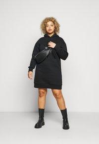 Calvin Klein Jeans Plus - ECOCK LOGO HOODIE DRESS - Day dress - black - 1