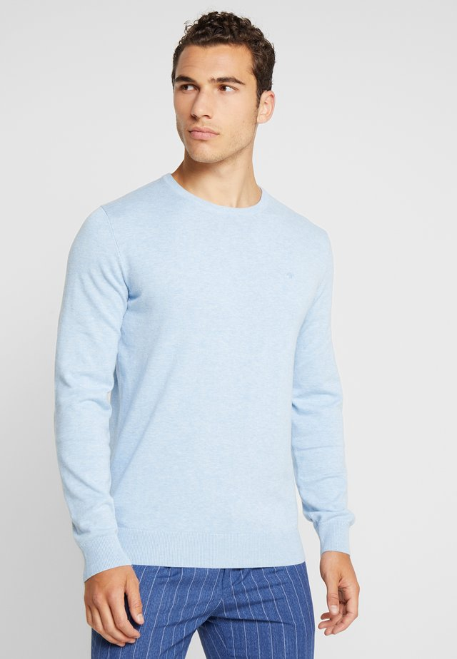 BASIC CREW NECK - Pullover - daylight blue melange