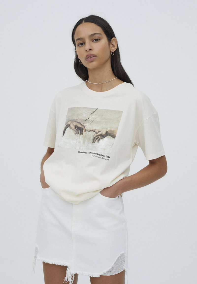 PULL&BEAR - T-shirt con stampa - beige