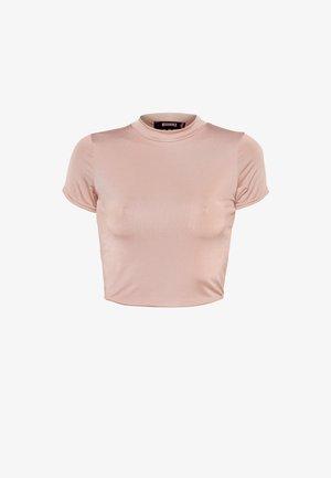 SLINKY CREW NECK CAP SLEEVE CROP - Basic T-shirt - rose