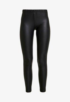 Wet Look Leggings - Leggings - black