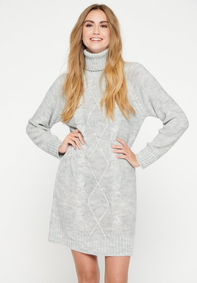 WITH ROLLNECK - Abito in maglia - light grey