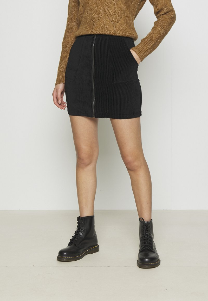 Even&Odd - CORDUROY HIGH WAISTED MINI BODYCON SKIRT - Mini skirt - black