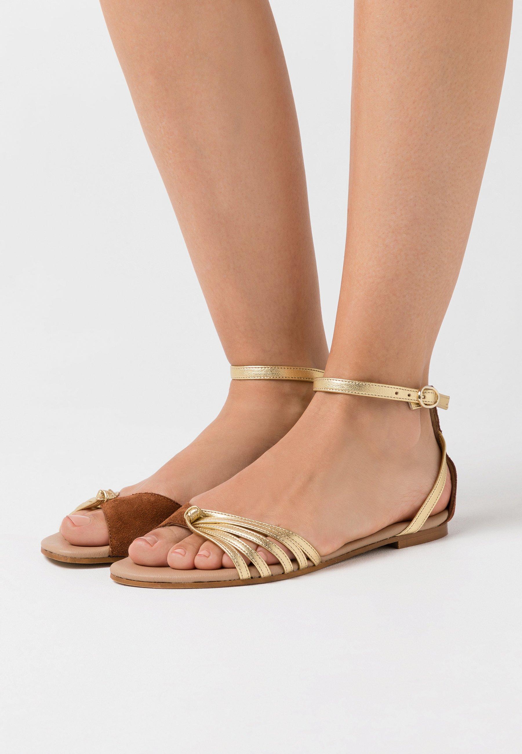Anna Field Leather Sandals - Sandaalit Nilkkaremmillä Cognac/gold