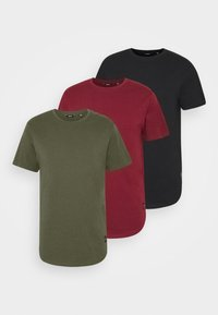 dark green/dark red/black