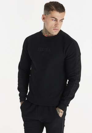 LOOP BACK EMBROIDERED SWEATER - Sweater - black