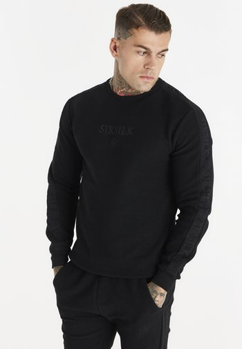 LOOP BACK EMBROIDERED SWEATER - Sweatshirt - black