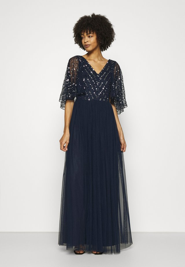 CAPE BACK EMBELLISHED MAXI DRESS - Robe de cocktail - navy