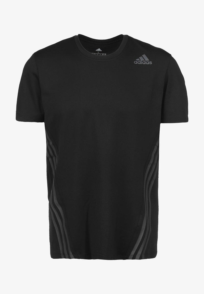 adidas Performance - AERO 3-STRIPES COLD WEATHER TRAININGSSHIRT HERREN - Camiseta estampada - black