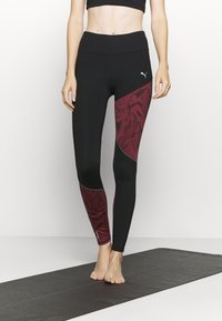 Puma - RUN GRAPHIC - Leggings - black/burgundy - 0