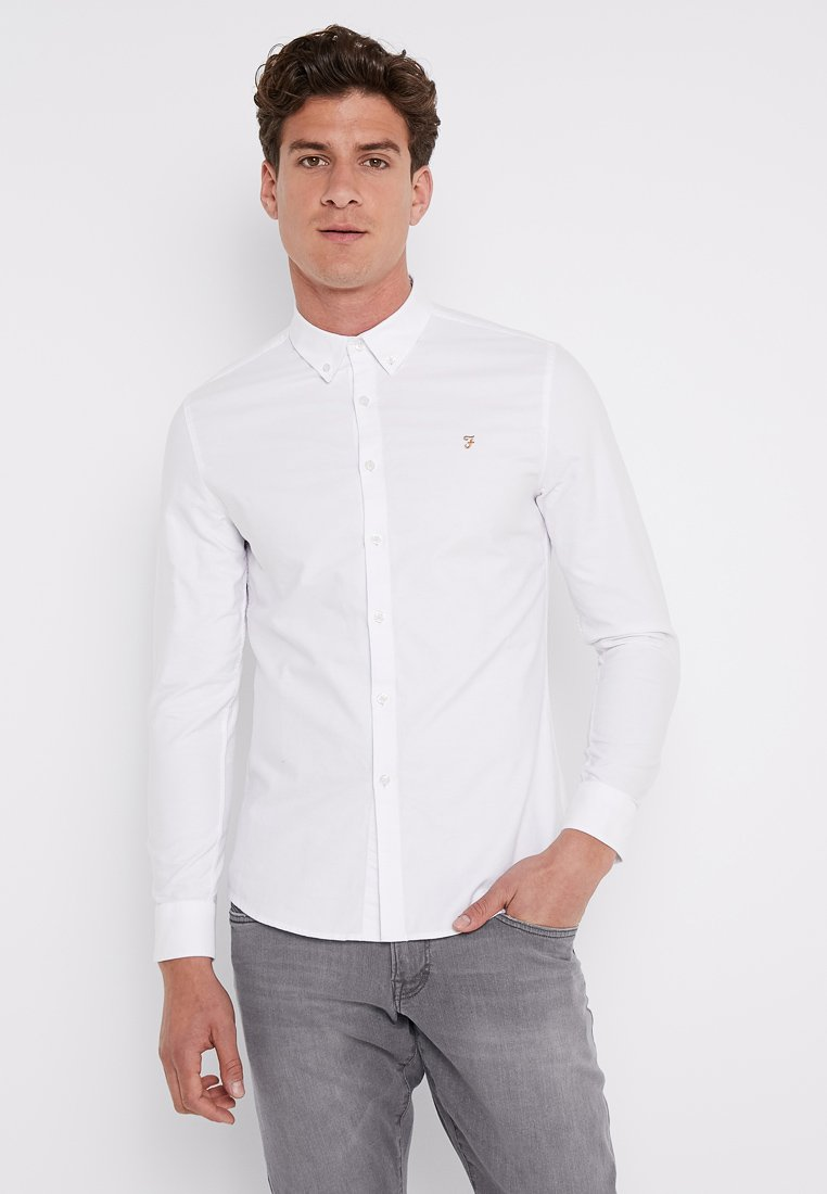 Mode stil Farah BREWER SLIM FIT  Skjorter  white cmClR