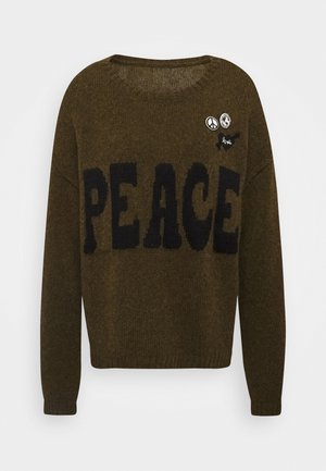 PEACE - Strikkegenser - olive