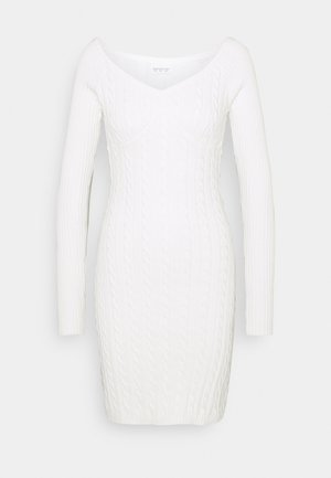 CARE CABLE MINI DRESS WITH LONG SLEEVES AND VNECK - Jumper dress - cream